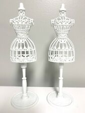 Barbie Doll Dress Form Birdcage Vintage Style Stand 2 Pack Lot White Lightweight