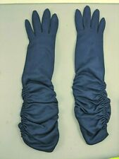 Vintage Ladies Gloves Long Blue Elbow Length Women's 50's 60's Stretch Evening