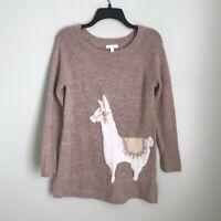 Lauren Conrad Small Pink Shimmer Long Sleeve Llama Sweater