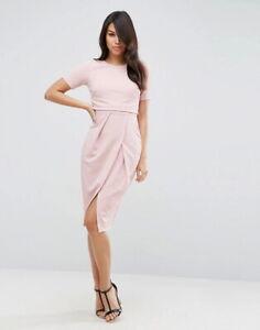 NEW ASOS Double Layer Textured Wiggle Dress Pink Nude UK14 Eur42 US10 wedding gu