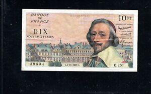 Billet 10 Nouveaux Francs Richelieu 04/10/62 TTB Fay 57-21