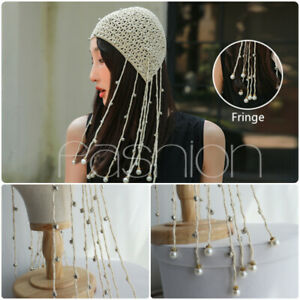 Women's Exotic Hollow Out Cap Fringe Beaded Knitted Hat Fancy Dress Cotton Blend