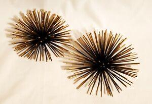 Metal Starburst/ Sea Urchin Atomic Era Wall Decor Set of 2 - Gold-Black Retro/TI