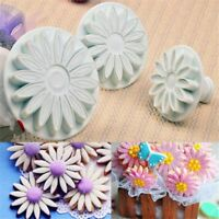 3 Pcs/set Sugar Craft Cookie Cutter Sunflower Mould Daisy Cake Mold Plunger