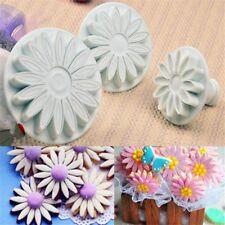 3 Pcs/set Sugar Craft Cookie Cutter Sunflower Mould Daisy Cake Mold Plunger