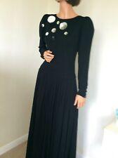 "Vintage Black Maxi Evening Dress Designer Louis Feraud Dress UK 10 12 36"" sequin"