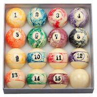 2-1/4 Inch Regulation Size Marble Swirl Style Billiard Table Pool Ball Set