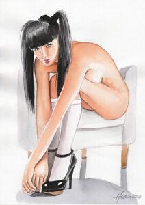Original Aquarell A4, Akt Zeichnung, Akt, nu, nude, Women, Erotik Akt, Milamas
