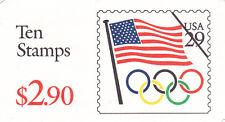 U.S. BKLT OF 10 SCOTT#BK186A 1991 29ct FLAG/OLYMPIC RINGS RED DENM MINT #K11111