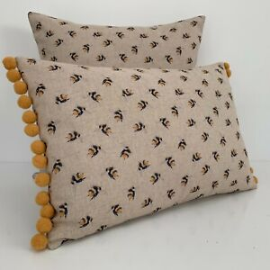 """Bumble Bee Cushion Cover DOUBLE SIDED Vintage Look Fabric Mustard Pom Pom 12x18"""""""
