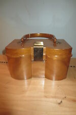 Vintage 1950's butterscotch lucite box purse curve front