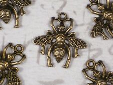 8 Queen Bee Wasp Charms 26mm x 25mm Antiqued Bronze Tone #P1130