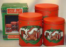 Christmas Tins Set of 3 Around the World Teddy Bears Peek-a-Boo