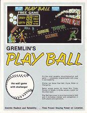 Gremlin Play Ball Wall Game Orig Arcade Game Flyer Nos