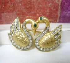 VINTAGE SWAN PIN / BROOCH WITH STONES NEW GOLD PLATED MADE IN ITALY