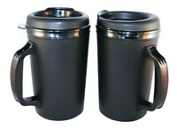 2 Foam Insulated 20 oz. ThermoServ Travel Mugs Black