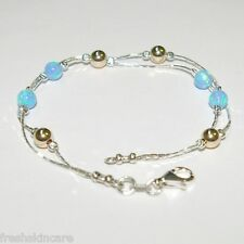 OPAL & GOLD FILLED Beads Sterling Silver 925 Chain ANKLET Made to your size