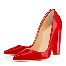 Women Pointy Toe High Block Heels Slip On Pump Patent Leather Party Prom Shoes