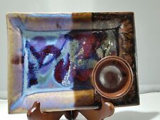 GLAZED ART DISH PICTURE POTTERY PLATE DISPLAY HOME DECOR  MODERN SIGNED BLUES