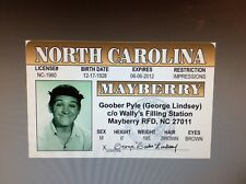 fun Andy Griffith Show Goober Pyle George Lindsey fake Id card Drivers License