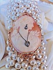CAMEO  ANTIQUE  HIGH RELIEF. QUALITY DIAMONDS  &  14K. GOLD  OVER 22 GRAMS  MINT