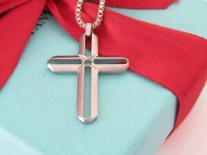 "Tiffany & Co Stainless Steel Men Cross Pendant Necklace 19.5"""