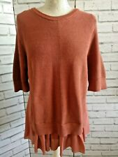 COS Mock Top Jumper Blouse Size M Cotton Knit Short Sleeve