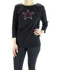 Karen Scott Black Cotton Blend Rhinestone Star BELIEVE Knit Top PS