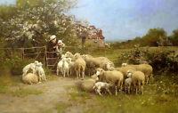 Oil painting luigi chialiva - cibo per i piccoli shepherdess with flock sheep @@