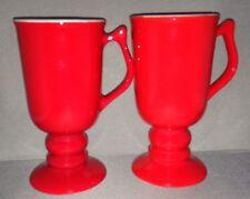Two Chinese Red Irish Coffee Mugs made by Hall China