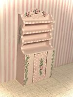 OOAK Hand-Painted Pink HUTCH Cabinet Dollhouse Furniture 1:12 by Miniature Lane