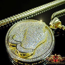 ICED OUT PRAYING HANDS CHARM PENDANT MEDALLION FRANCO PREMIUM CHAIN NECKLACE SET