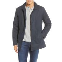 NNO7 No Nationality Winter Cotton Wool Blue Blake Car Coat Zip Pockets Size L
