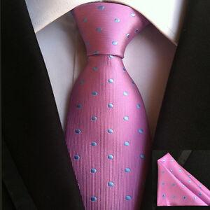 (TPS016) Silk Blend Pink Men Tie Blue Polka Dot And Handkerchief Men Necktie Set