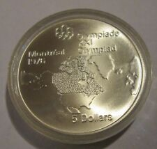 Canada Montreal Olympics 1976  Proof 5 Dollar Silver North American Map 1973