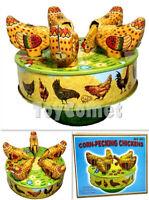 MS483 Carousel Corn-Pecking Chickens Retro Clockwork Wind Up Tin Toy w/Box