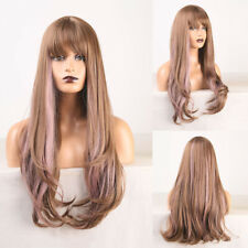Mix Color Natural Wave Synthetic Wigs with Bangs Heat Resistant Cosplay Wigs