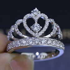 2Ct Round Cut VVS1 D Diamond Princess Crown Engagement Ring 14k White Gold