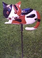 Garden Lawn Yard Decoration animal Calico Cat sheet metal pick stake NEW
