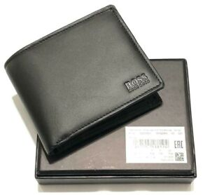 Hugo Boss Men's Asolo Black Leather Bifold Card and Coin Pocket Wallet
