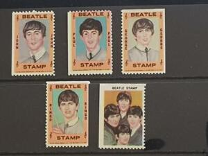 THE BEATLES-VINTAGE 1964-HALLMARK STAMPS-SET OF 5-JOHN-PAUL-GEORGE-RINGO+GROUP