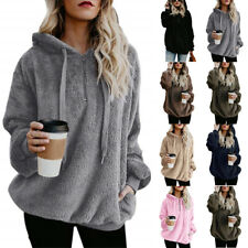 UK Womens Ladies Warm Teddy Bear Fleece Hoodie Jumper Hooded Pullover Sweatshirt
