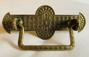 "Brass Art Nouveau Victorian Eastlake Antique Bail Drawer Pull 2 3/4""centers"