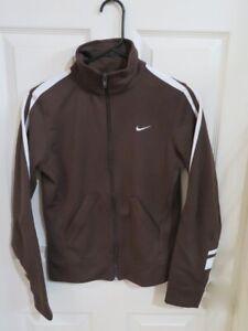 New Women's Nike Sportswear Brown & White Logo Full Zip Track Jacket Size Small