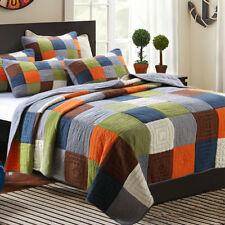 100% Cotton Coverlet / Bedspread Set Patchwork Quilt Queen King Size 230x250cm