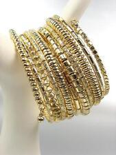 CHUNKY Gold Metallic Beads Twist Wrap Coil Wide PLUS SIZE Statement Bracelet