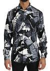 DOLCE & GABBANA Shirt Black Banana Leaves 100% Silk Top s. 38/US15/XS RRP $1000
