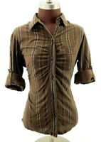 The North Face Women's Button Down Shirt with Roll Tab Sleeves Brown Medium