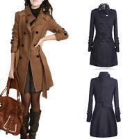 Plus Size Women Outwear Winter Warm Lapel Long Trench Parka Coat Jacket Overcoat