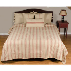 """Grain Sack Stripe Oat and Barn Red 94"""" x 104"""" Queen Bedcover by Raghu"""